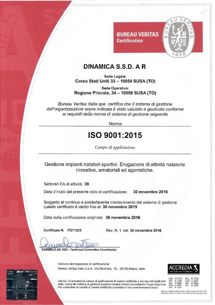 Certificato ISO 9001 Piscina Chieri