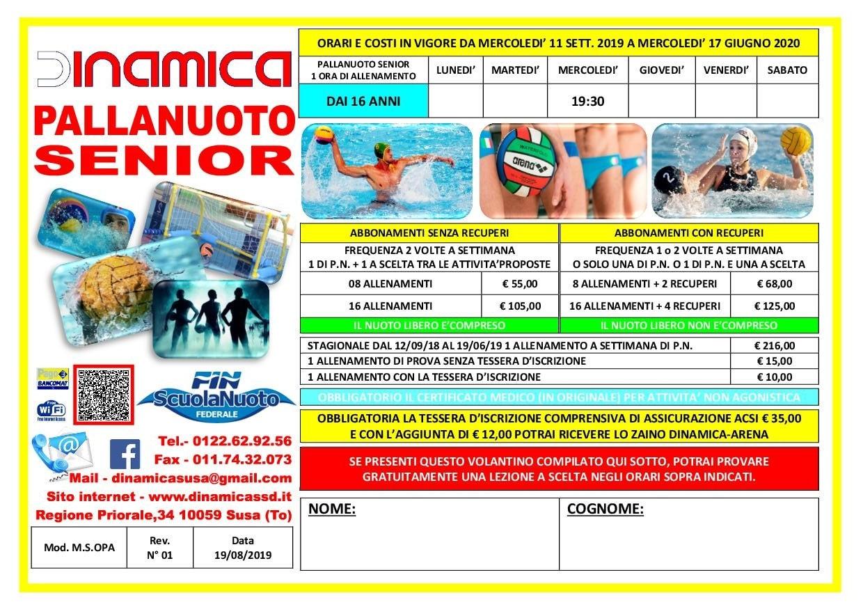 Volantino Pallanuoto Senior 2019-2020